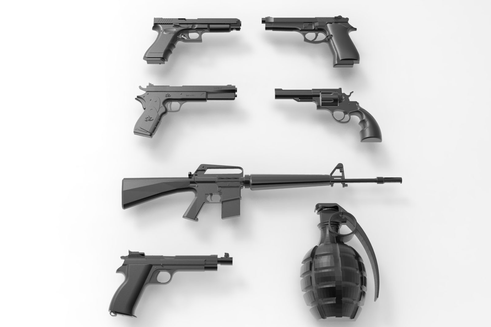 CNC A029 (Gun Collection) 7PC 3D STL Model
