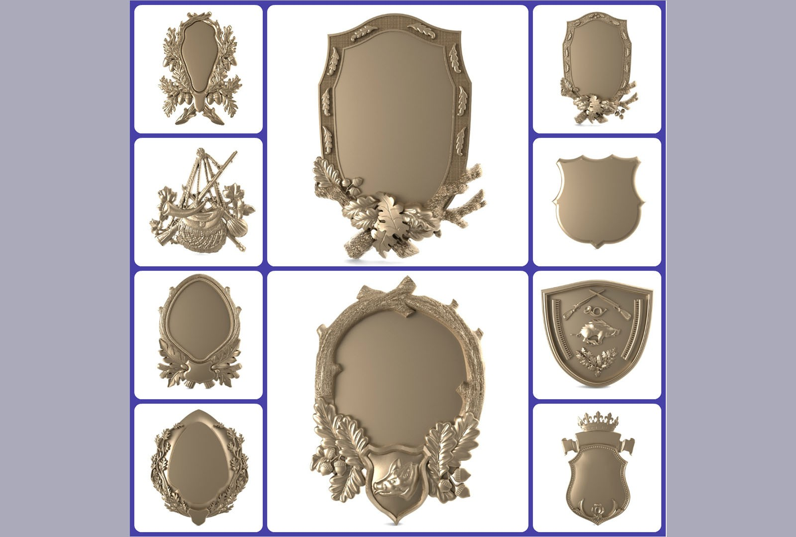 CNC A038 10PC Shield Collection 3D STL Model