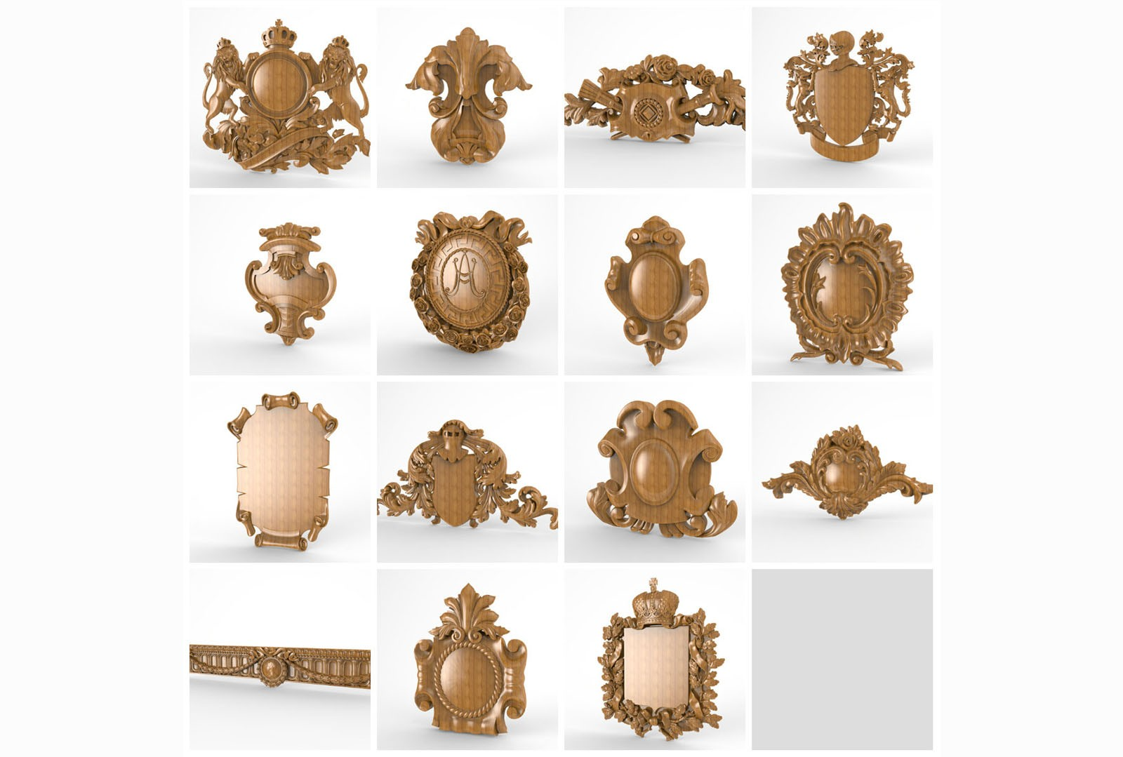 CNC G009 15PC cartouche collection 3D STL Model