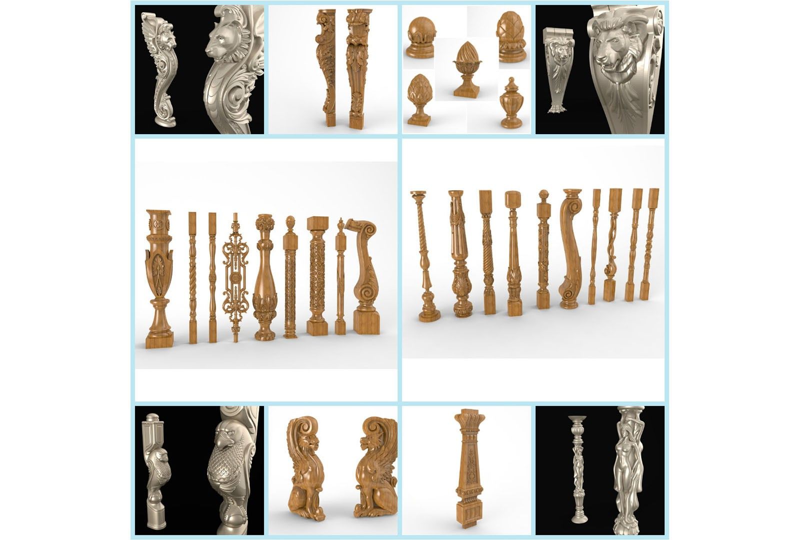 CNC G012 31PC Baluster Collection 3D STL Model