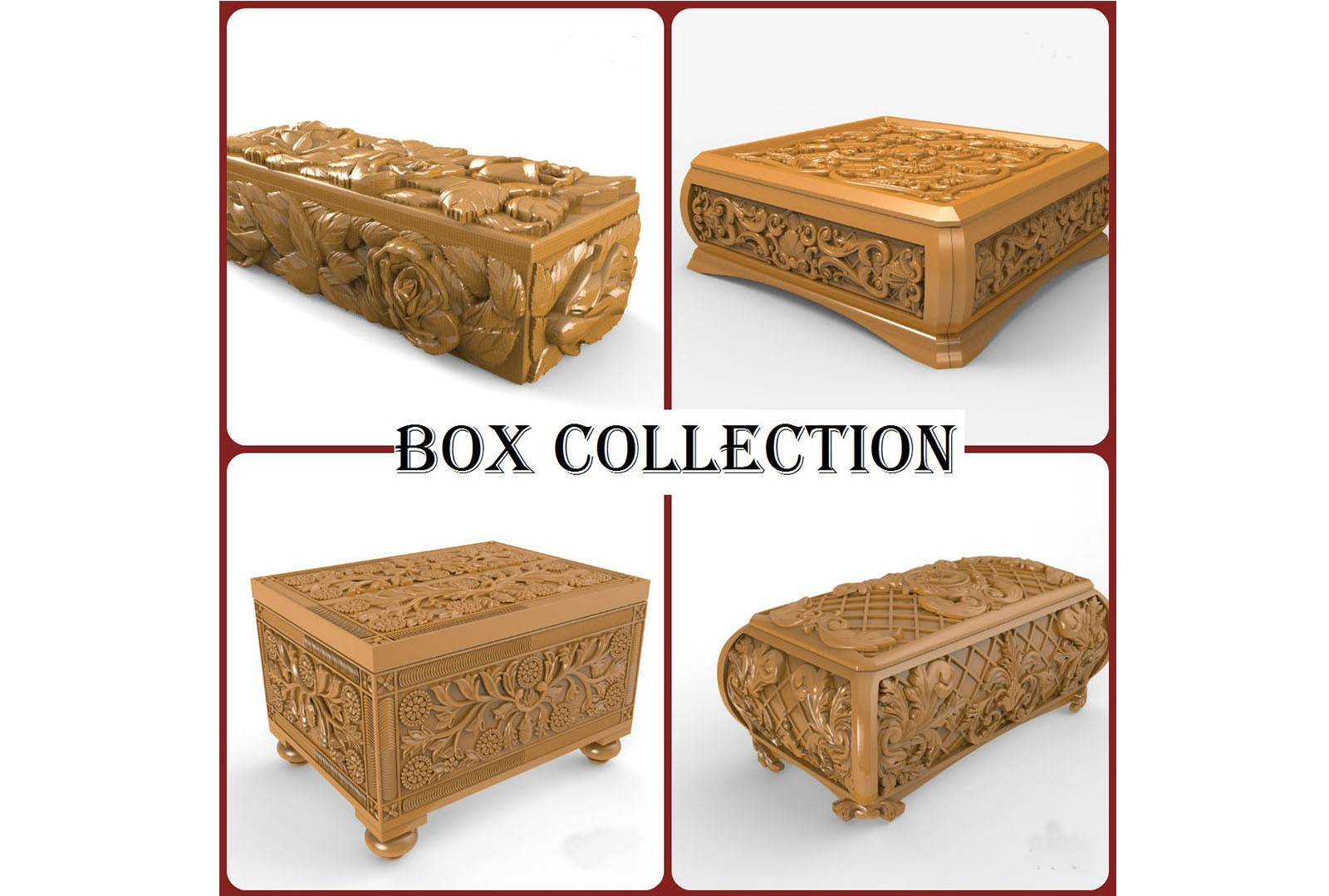 CNC G014 4PC BOX COLLECTION 3D STL Model