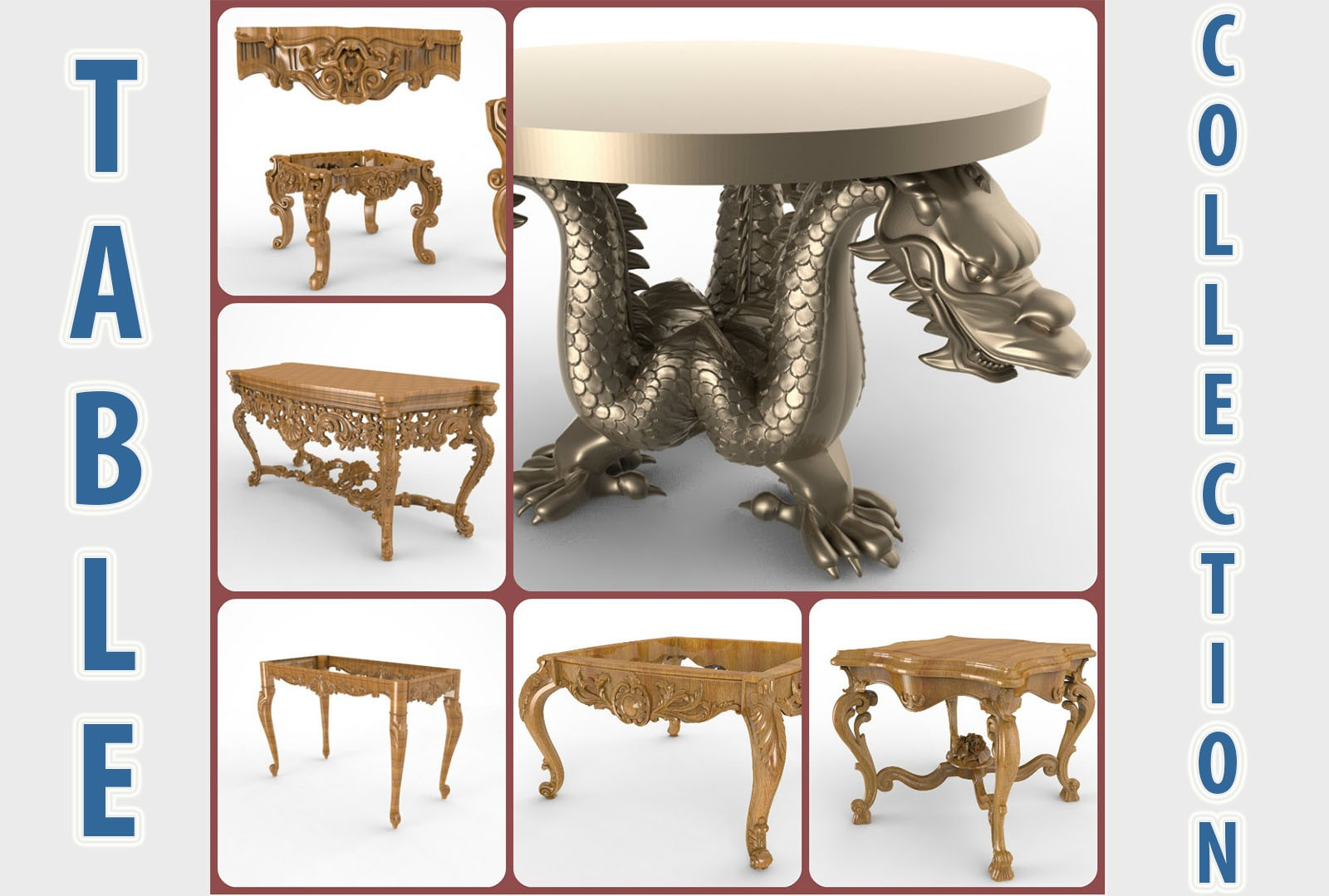 CNC G015 6PC Table Collection 3D STL Model