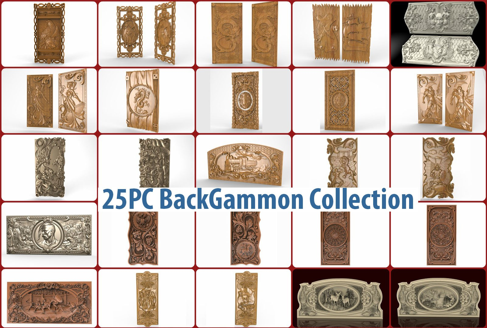 CNC G017 25PC Backgammon Collection 3D STL Model