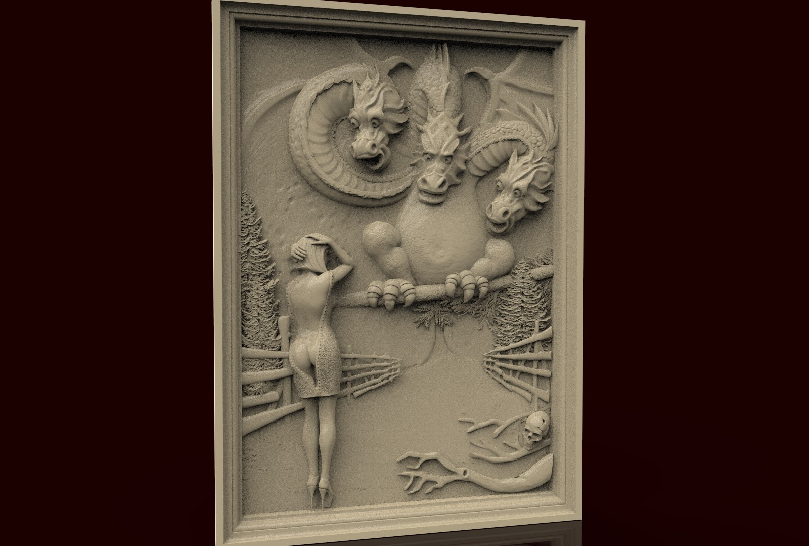 CNC 284 (Dragon & Girl) 3D STL Model